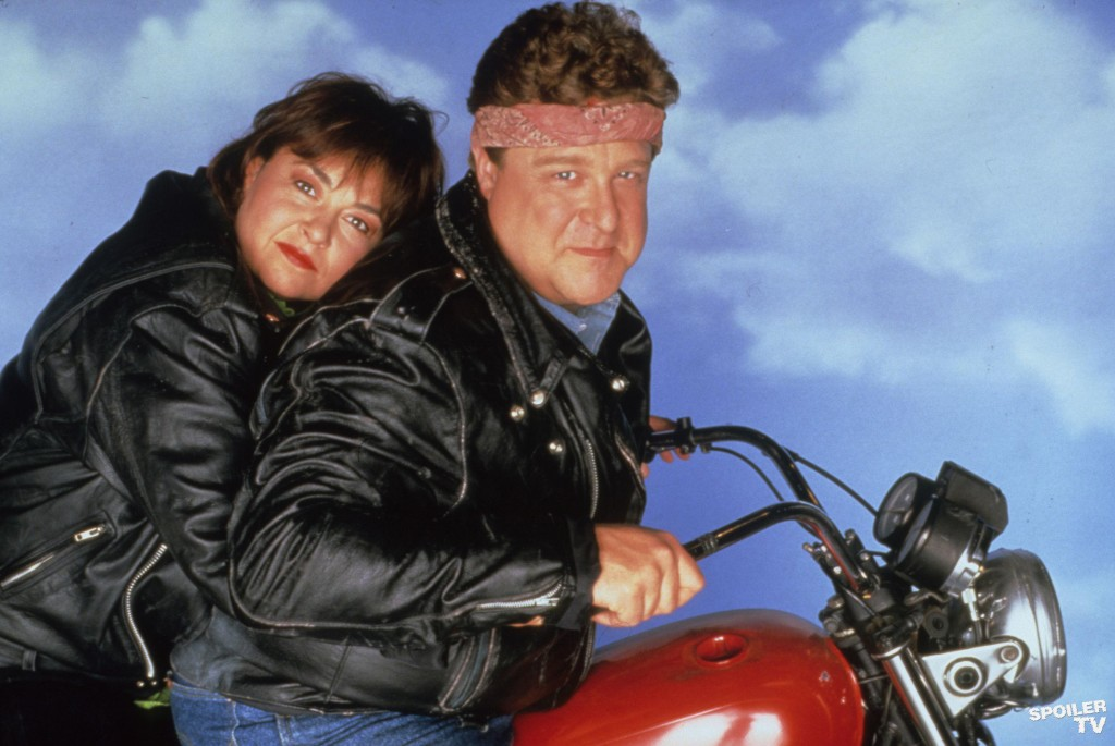 Dan and Roseanne on a motorcycle