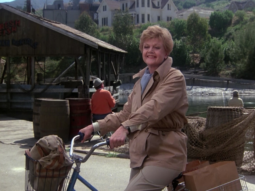 Angela Landsbury on a bike