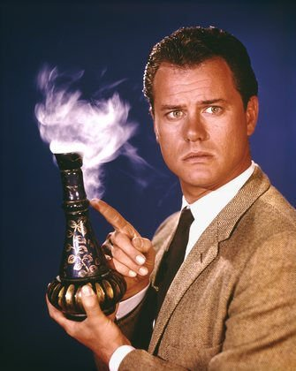 I dream of Jeannie Tony Nelson-Larry Hagman with Bottle
